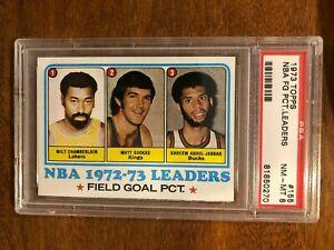 1973 Wilt Chamberlain / Kareem Abdul-Jabbar Topps #155 NBA FG Pct. PSA 8 NM-MT!