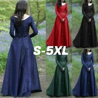 Vintage Costume Long Maxi Dress Womens Halloween Medieval Maiden Cosplay Dresses