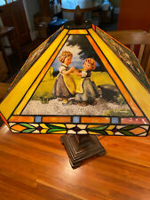 Four Seasons Rare Danbury Mint Hummel Stained Glass Table Lamp Tiffany Style
