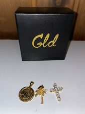 Shop GLD Pendant Lot GOLD PLATED - Chief Coin, Palm Tree & Cross