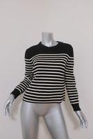 Saint Laurent Pullover Sweater Black/Cream Striped Cotton-Wool Size Medium