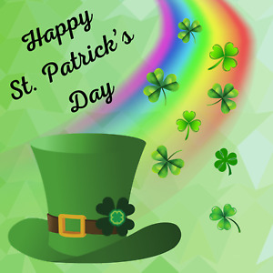 Happy St Patrick's Day Leprechaun Hat With Rainbow Sign or Door Hanger