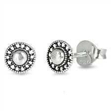 Antique Round Bali Stud 925 Sterling Silver Post Children Women Earrings