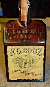E.G. Booz ( 1840 ) Log Cabin Kentucky Straight Bourbon Whiskey Bottle w/ Labels