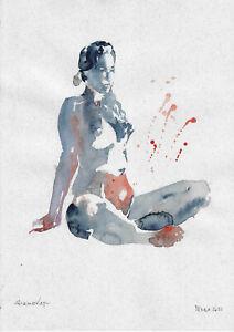 original painting A3 689DO art samovar modern watercolor female nude sketch