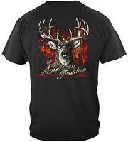 American Tradition Deer Hunter Hunting T-Shirt 100% Cotton Black