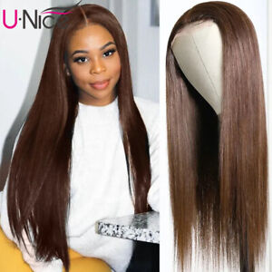 UNice Indian Silk Base Straight Lace Part Human Hair Wigs Brown Color For Women