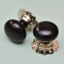 Solid Ebony Bun Door Knobs (Pair) - Nickel Collar & Rose