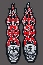 LONG FLAME SKULL CROSS PATCH  7 INCH PAIR BIKER PATCH