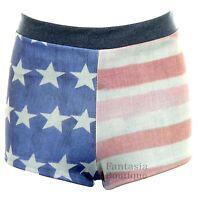 Ladies Denim Effect Faded USA Flag Print Hot Pants Women's Stretch Shorts 8-12