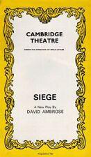 "Alastair Sim ""Siege""  London Playbill David Ambrose '72"