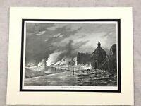 1875 Antico Stampa Hastings Sussex Lungomare Burrascoso Mare Landscape Vista