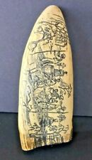 FAUX WHALE TOOTH SCRIMSHAW MISSISSIPPI RIVERSCAPES