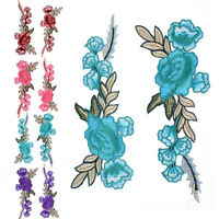 2pcs Rose Flower Applique Floral Sew Iron on Patches Badge Cool Embroidered TK
