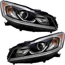 Headlights Headlight Assembly NEW Pair Set For 2016-2017 Honda Accord LX Sedan