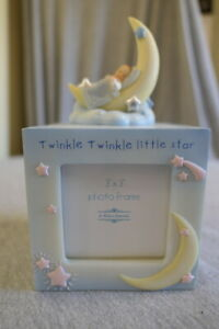 "NEW Hand Painted Blue & Yellow Twinkle Little Star 3"" x 3"" Photo 4 Picture Frame"