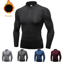 Men's Athletic Thermal Shirt Mock Neck 1/4 Zip Under Base Layer Running Gym Top
