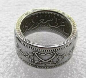 Saudi Arabia 1 Riyal 1346 1928 Silver Coin Ring Abd al-Azīz