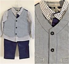 3 Piece Toddler Baby Boy Formal Waistcoat Pants Shirt Outfit Sets Suit 9 months