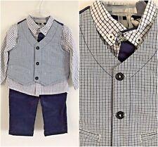 3 PEZZI Bambino Baby Boy Formal Gilet Pantaloni Camicia Vestito Set Tuta 9 mesi