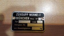 Zündapp Rahmen Typenschild 197- Blanko Neu mit 2 Nieten A1 ware