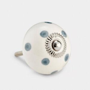 White With Grey Spots Polka Dot Ceramic Cupboard Drawer Pulls Cabinet Door Knob
