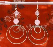 3 piece metal Ring 3.5'' Earring-ear621 Sale Fashion Pink 8-10mm Natural Jade &
