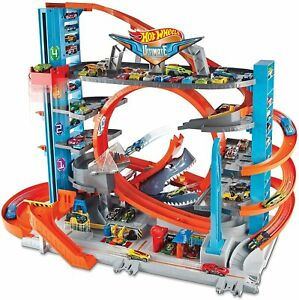 Hot Wheels FTB69 City Garage with Loops and Shark Toy Car Decorations May Vary