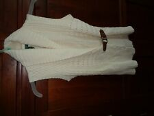 Lauren Ralph Lauren Petite Ivory Sweater Vest w/ Leather Closure XSP NWOT