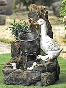 Duck Family Water Feature by Aqua Moda with LED Lights