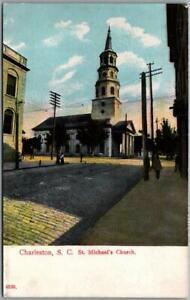 "1910s Charleston, South Carolina Postcard ""St. Michael's Church"" Street View"