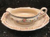 "Homer Laughlin 'Virginia Rose' Gravy boat & Bowl vintage As Is USA - 8"""