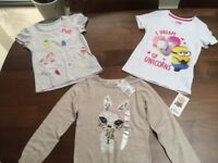 2 Girls T-Shirts from M&S and 1 jumper from H&M, Age approx 4-6. New
