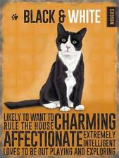 Vintage Style Chic Metal Wall Sign Plaque Black & White Cat Kitten Gift 30x40cm