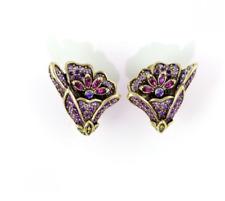 Heidi Daus Heavenly Bloom Crystal Earrings Clip TANZANITE SWAROVSKI MUST!!