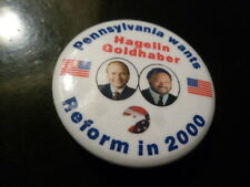 Pennsylvania Reform Party Pin Back Presidential Campaign Button Hagelin Flag