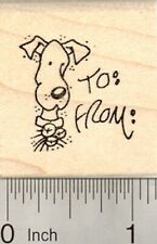 Dog Christmas Gift Tag Rubber Stamp, with Space for Names D22902 WM
