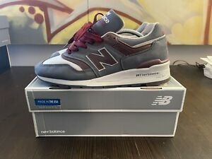 New Balance M997DGM - Made In USA - Horween Leather (gray / maroon) Sz10 US