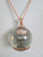 NWT Auth Betsey Johnson Betsey Baubles Skull Crown Floating Globe Long Necklace