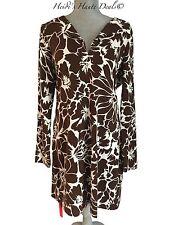NWT Diane von Furstenberg Reina Brown Floral Print Jersey Shift Tunic Dress 14