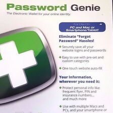SecurityCoverage Password Genie for Macs/PCs - Product Key Card ✔NEW✔
