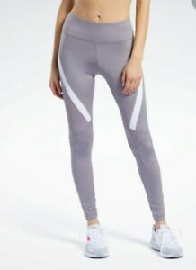 Reebok Size L Vector Logo Tights Leggings Gravity Grey New Sports Fitness Gym