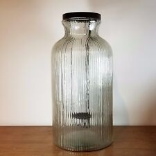 "19"" Extra Large Rippled Glass Hurricane Jar & Metal Drop Candle Holder"