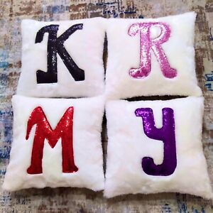 ALL Sizes Faux Fur Pillows FREE PERSONALIZED Sequin Letters on Furry Cushions