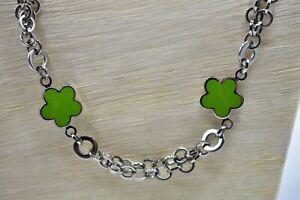 Folli Follie Signed Stainless Steel Necklace Layered Green Enamel Flower Bin6