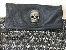 THOMAS WYLDE CRYSTAL EMBELLISHED SKULL FOLD OVER BLACK CLUTCH BAG W/ DUST BAG