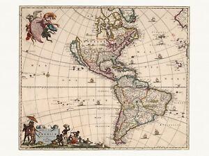 Old Antique Decorative Map of America de Wit ca. 1682