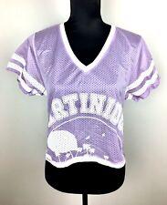 ZARA sz S purple white pastel women V-neck jersey crop top shirt kawaii cute