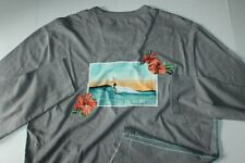 Tommy Bahama T Tee Shirt Lux Live The Island Life Embroidered LS Grey Medium M