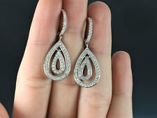 14k White Gold 114 Round 1.25ct Diamond Drop Dangle Lever Backing Earrings